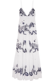Roberto Cavalli Embroidered cotton-voile maxi dress