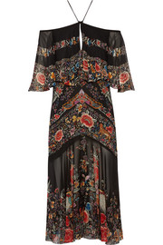 Off-the-shoulder ruffled printed silk-georgette midi dress