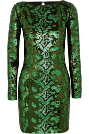 Roberto Cavalli Cutout sequined silk-chiffon mini dress