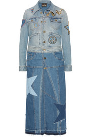 Two-tone appliquéd denim coat