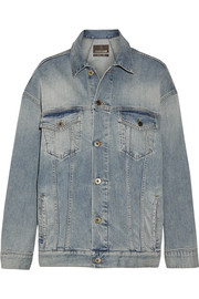 Roberto Cavalli Oversized paneled stretch-denim jacket