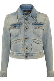 Roberto Cavalli Embroidered studded denim jacket