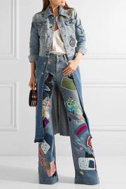 Roberto Cavalli Embellished high-rise flared jeans