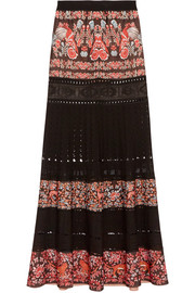 Roberto Cavalli Jacquard and pointelle-knit maxi skirt