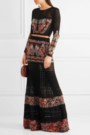 Jacquard and pointelle-knit maxi skirt
