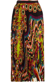 Roberto Cavalli Pleated printed silk-georgette maxi skirt
