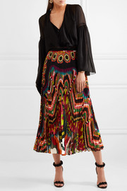 Pleated printed silk-georgette midi skirt