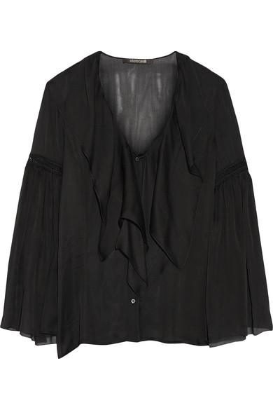 Roberto Cavalli - Crochet-trimmed Ruffled Silk-chiffon Shirt - Black