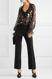 Roberto Cavalli Ruffled star and moon fil coupé blouse