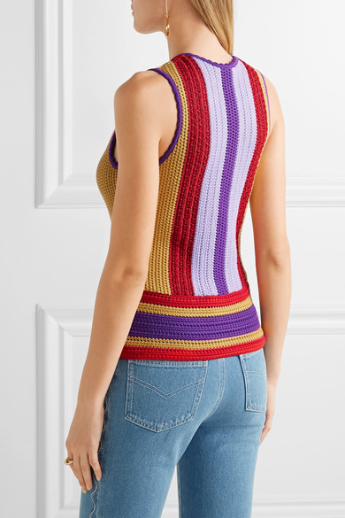 Roberto Cavalli Woman Lace-up Striped Crochet-knit Top Lilac Size 46 Roberto Cavalli Clearance Online Official Site For Sale Buy Authentic Online Discount With Credit Card PAyAckTxcj