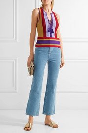 Roberto Cavalli Lace-up striped crochet-knit top