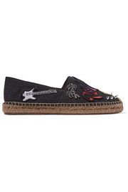 Marc Jacobs Sienna embellished appliquéd canvas espadrilles