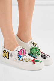 Mercer embellished appliquéd canvas slip-on sneakers
