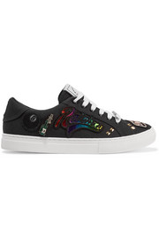 Empire embellished appliquéd canvas sneakers