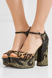Adriana leopard-print calf hair and snake-effect leather platform sandals