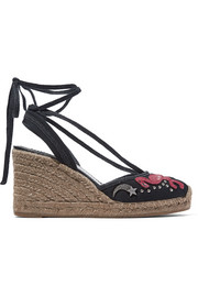 Nathalie embellished appliquéd canvas wedge espadrilles