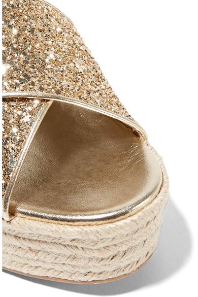 Miu Miu aus | Plateausandalen im Espadrille-Stil aus Miu Leder mit Glitter-Finish be9d96