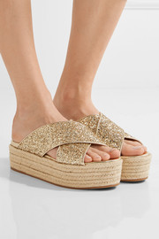 Miu Miu Glittered leather espadrille platform sandals