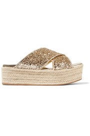 Glittered leather espadrille platform sandals
