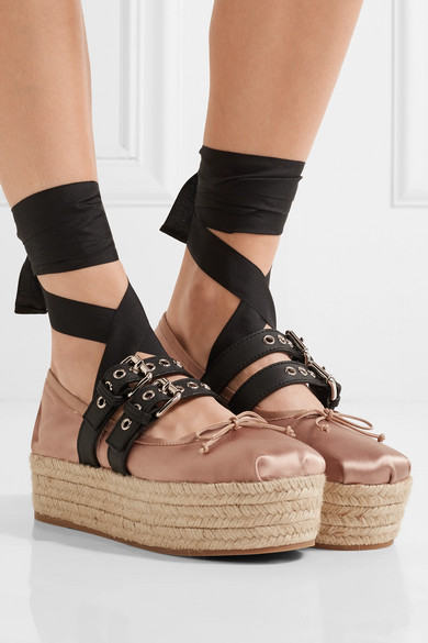 Miu Miu Satin platform espadrille loafers with paypal low price discounts cheap price free shipping in China 4qlLF6