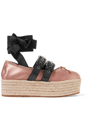 Miu Miu Leather-trimmed satin platform espadrilles
