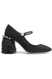 Feather-trimmed embellished suede Mary Jane pumps