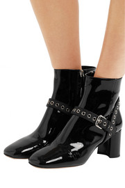 Miu Miu Eyelet-embellished patent-leather ankle boots