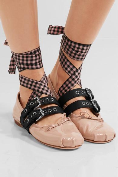 miu miu lace up patent leather ballet flats net a porter com. Black Bedroom Furniture Sets. Home Design Ideas