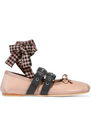 Miu Miu Lace-up patent-leather ballet flats