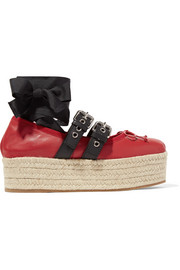 Miu Miu Lace-up leather platform espadrilles