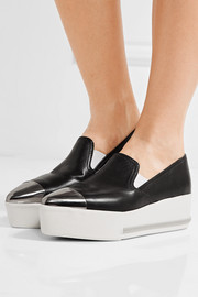Miu Miu Metal-trimmed leather platform slip-on sneakers