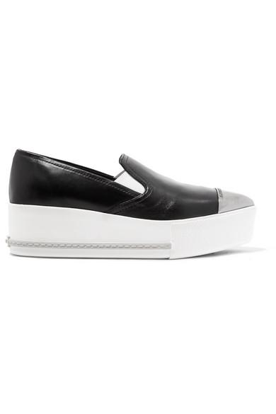 Metal-trimmed Leather Platform Slip-on Sneakers - White Miu Miu pKwYQ03S