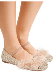 Faux pearl, crystal and feather-embellished glittered leather ballet flats