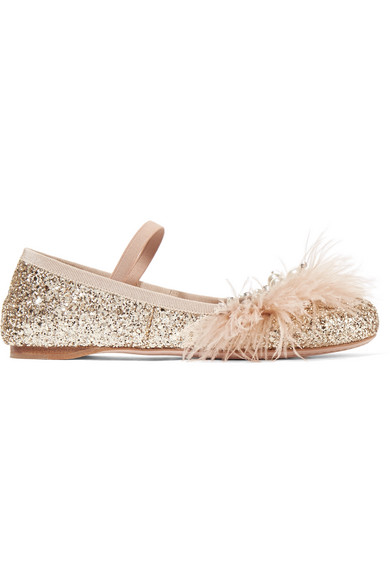 Miu Miu - Faux Pearl, Crystal And Feather-embellished Glittered Leather Ballet Flats - Pink