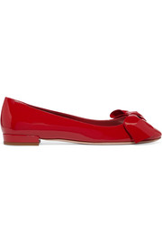 Miu Miu Bow-embellished patent-leather ballet flats