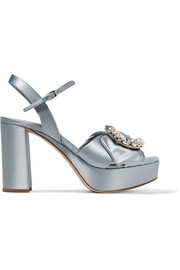 Miu Miu Embellished satin platform sandals