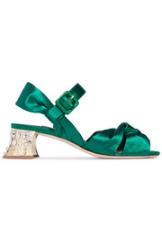 Miu Miu Swarovski crystal-embellished satin sandals