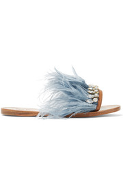 Miu Miu Swarovski crystal and feather-embellished satin and leather slides