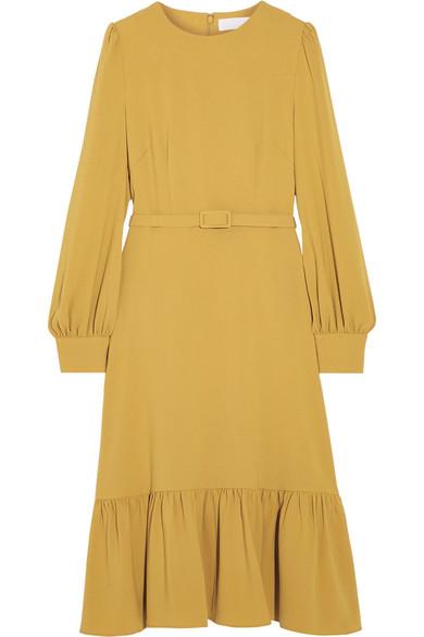Co - Belted Ruffled Crepe Midi Dress - Marigold