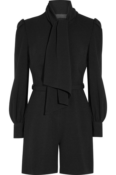 Co - Pussy-bow Crepe Playsuit - Black