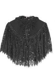 Felt-paneled embellished lace cape