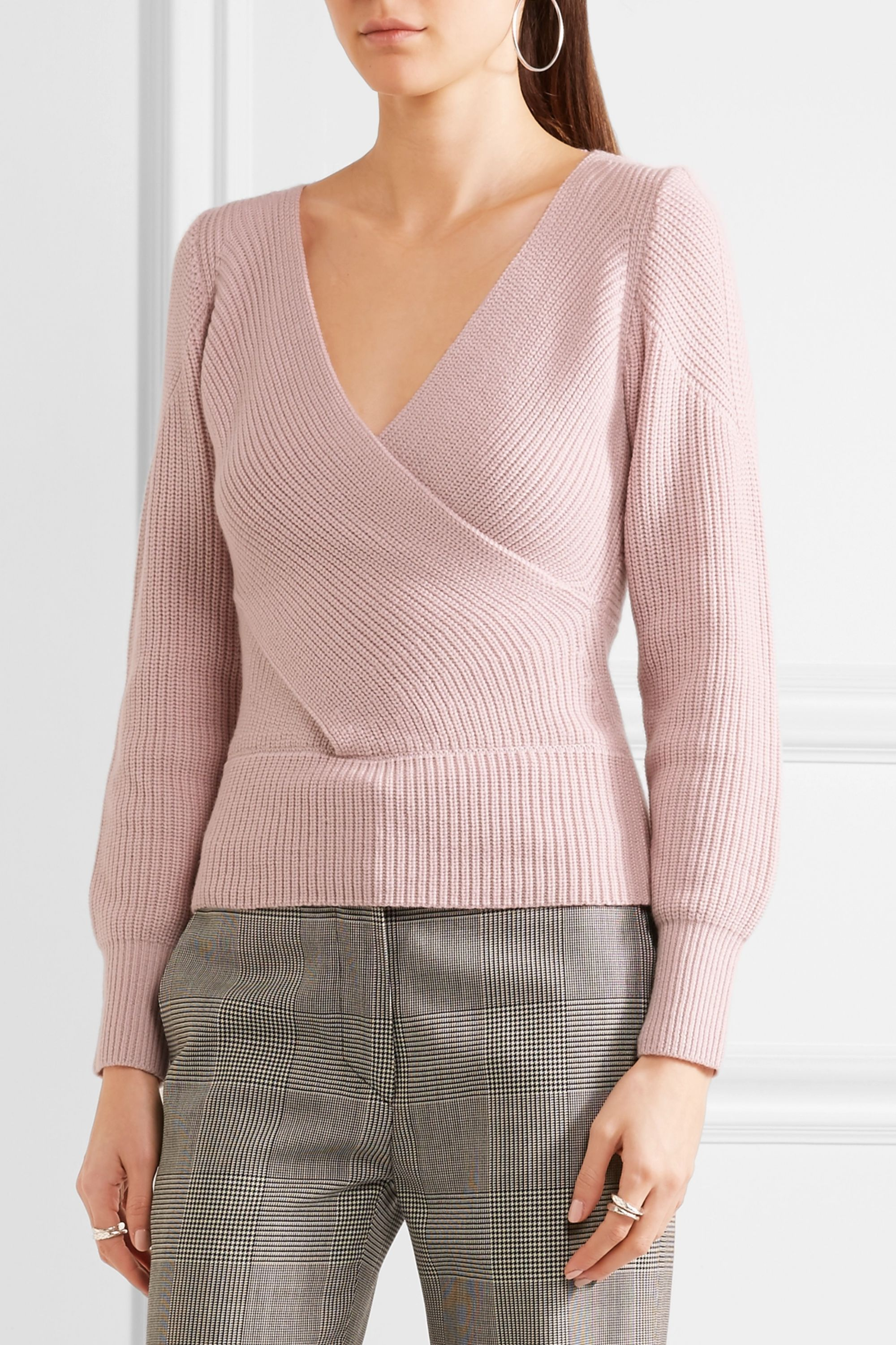 TOME Wrap-effect ribbed wool sweater