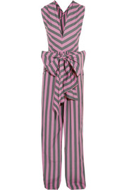 TOME Bow-detailed striped cotton-poplin jumpsuit