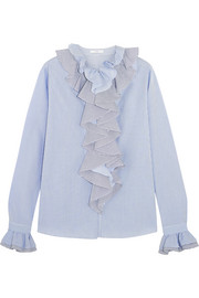 Ruffled striped cotton-poplin shirt
