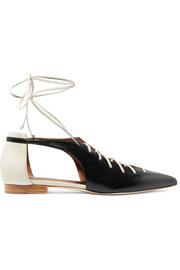 Montana lace-up two-tone leather point-toe flats