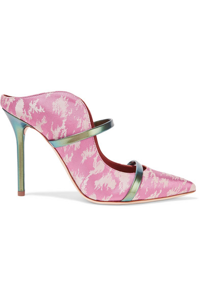 Malone Souliers - Maureen Metallic Leather-trimmed Satin-jacquard Mules - Baby pink