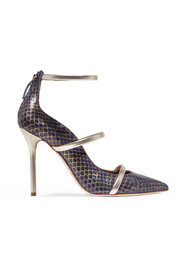 Metallic leather-trimmed elaphe pumps