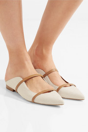 Leather-trimmed linen point-toe flats