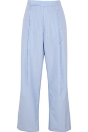 Perret striped cotton-poplin wide-leg pants