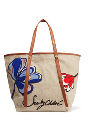 Andy leather-trimmed appliquéd canvas tote
